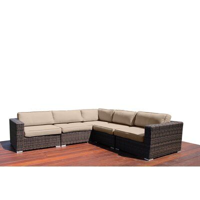 "Eldora 94"" W Wicker Patio Sectional with Cushions"