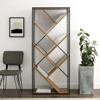 "Jacobus 68"" H x 30"" W Metal Geometric Bookcase"