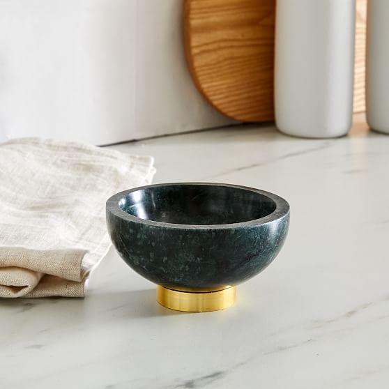 Marble Kitchen Serveware, Dip Bowl, Green, Marble Brass, Individual