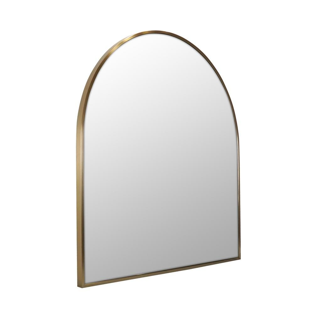 Glass Warehouse 30 in. x 32 in. Arch Shape Stainless Steel Framed Wall Mirror in Satin Brass