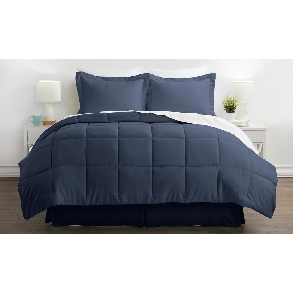 Bed In A Bag Performance Navy (Blue) Queen 8-Piece Bedding Set