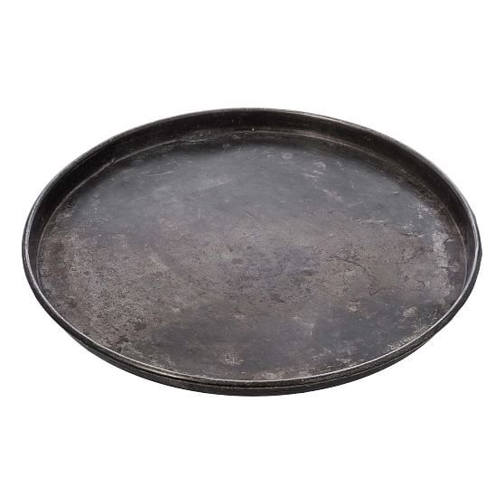 Vintage Large Round Tray, Silver, Steel