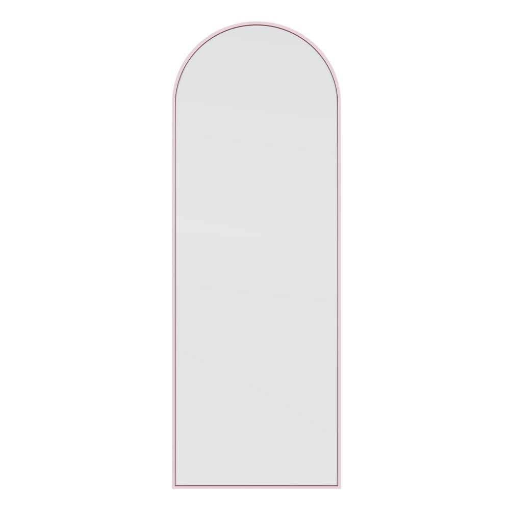 Glass Warehouse 24 in. x 62 in. Arch Leaner Dressing Stainless Steel Framed Wall Mirror in Pink