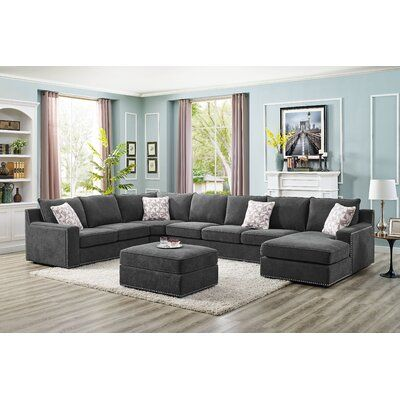 """Makah 166"""" Wide Microfiber/Microsuede Left Hand Facing Modular Sectional with Ottoman"""
