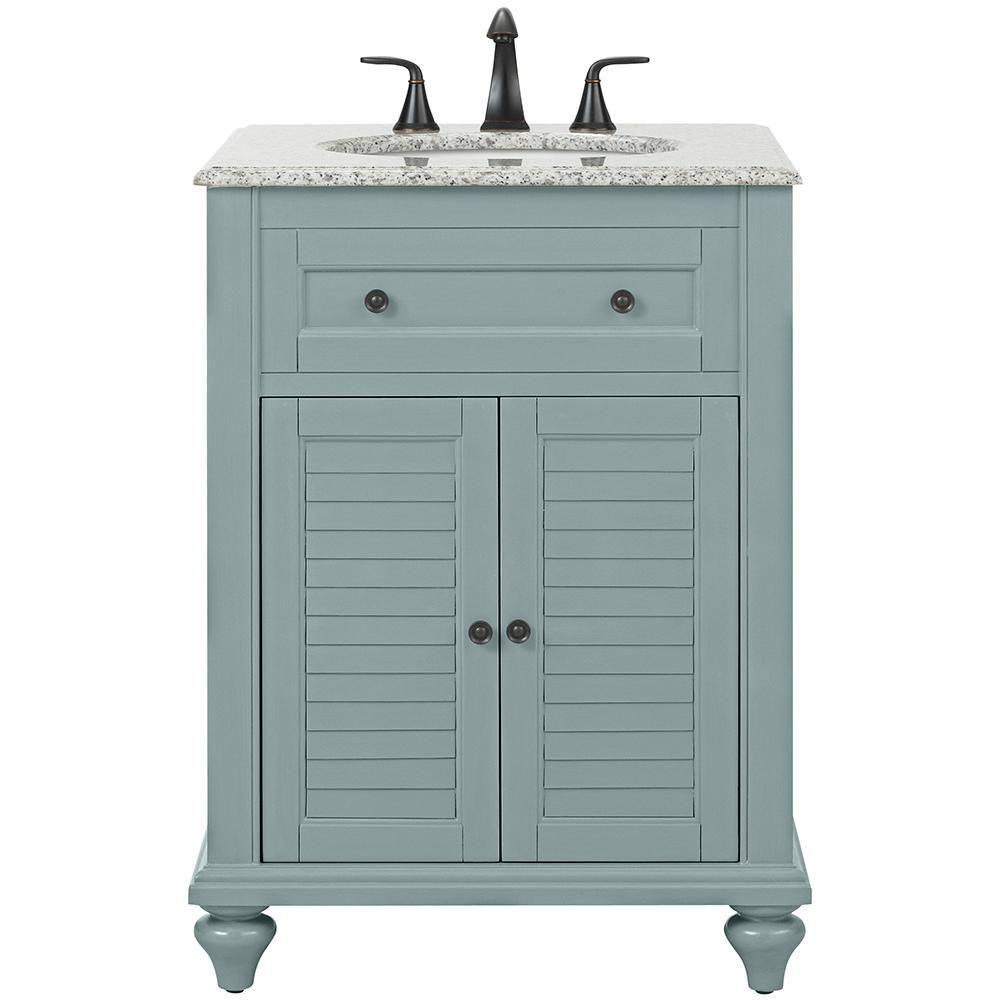 Home Decorators Collection Hamilton Shutter 25 in. W x 22 in. D Bath Vanity in Sea Glass with Granite Vanity Top in Grey