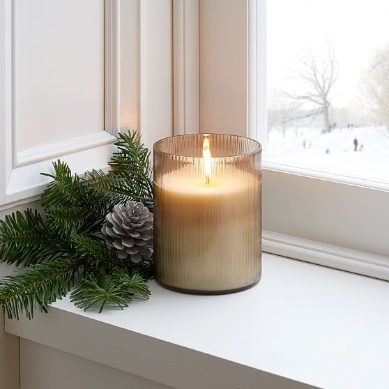 Etched Glass Candle, Smoke