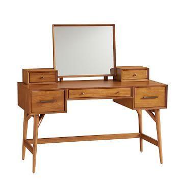 Mid-Century Standard Desk Vanity, Acorn