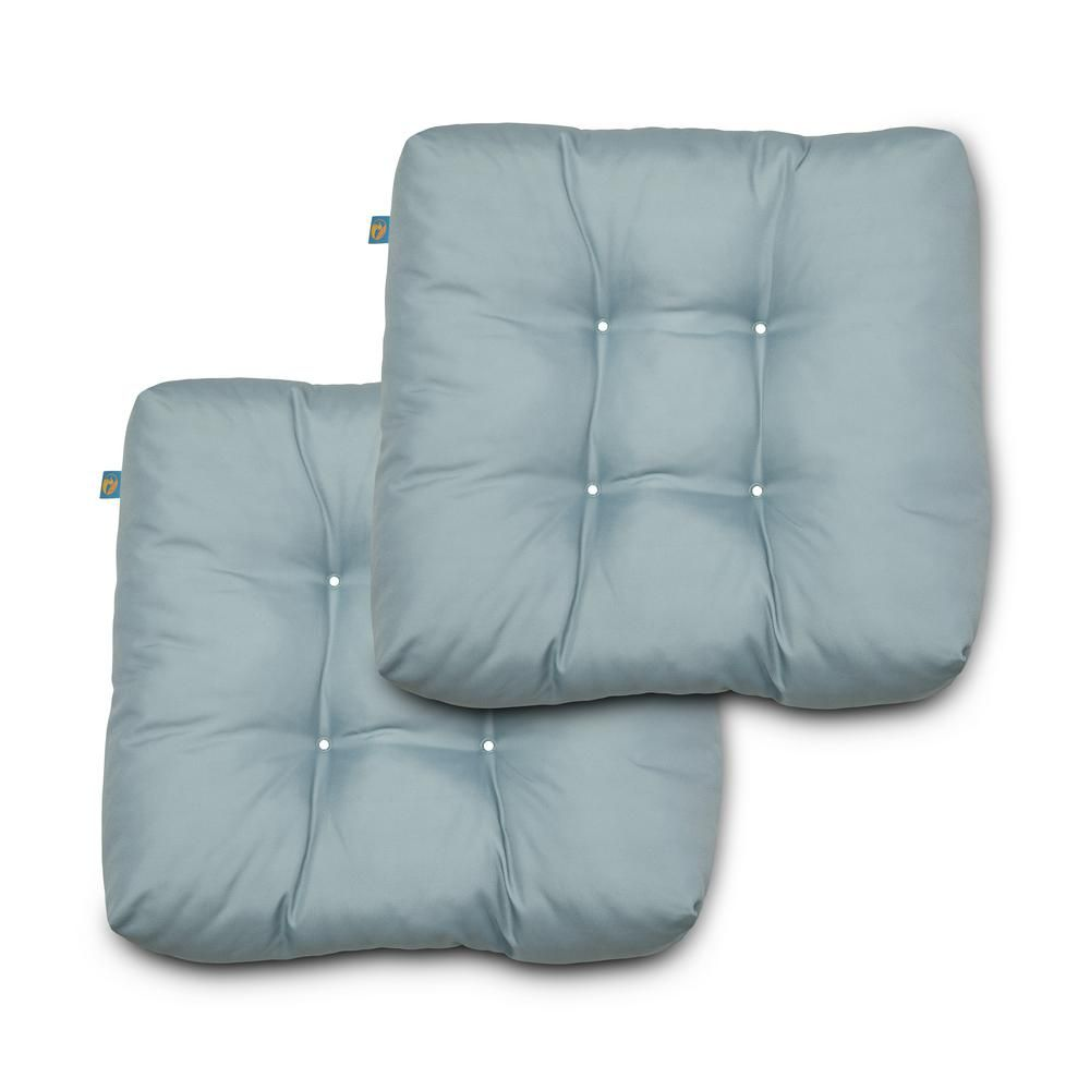 Duck Covers 19 in. x 19 in. x 5 in. Gull Grey Sqaure Indoor/Outdoor Seat Cushions (2-Pack)