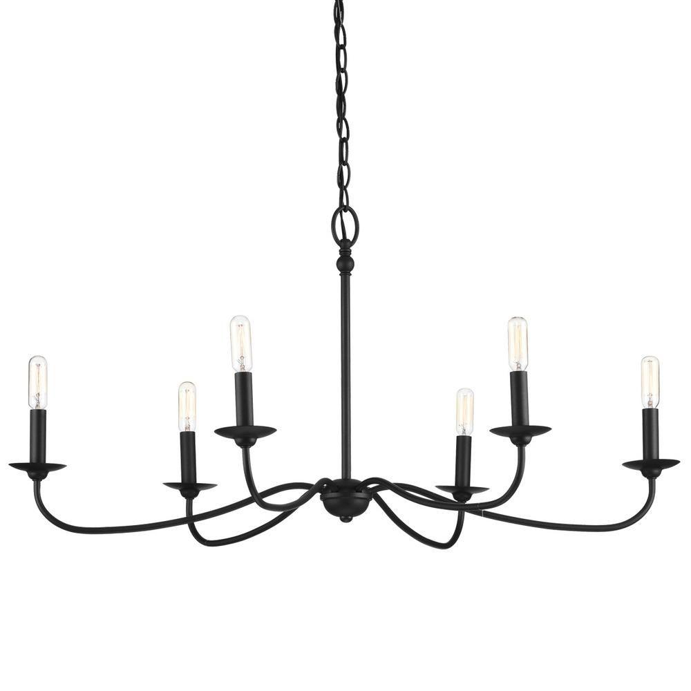 Progress Lighting Pacolet 6-Light Textured Black Chandelier