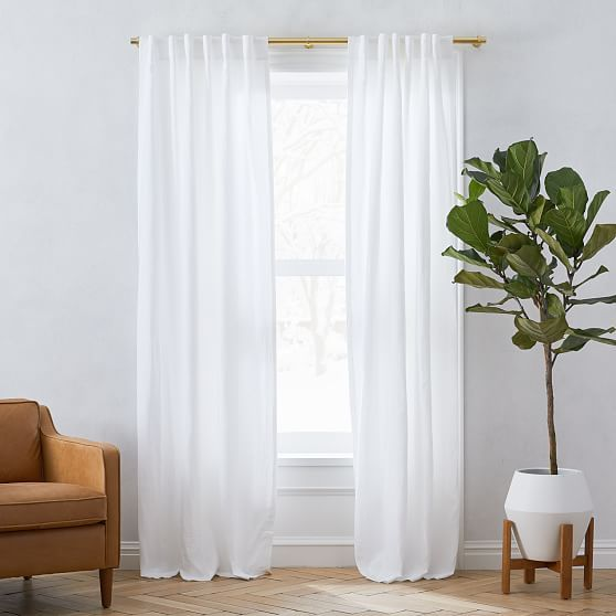 """European Flax Linen Curtain with Cotton Lining, White, 48""""x108"""""""