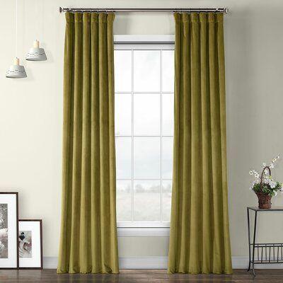 Bagwell Velvet Solid Color Room Darkening Thermal Rod Pocket Single Curtain Panel