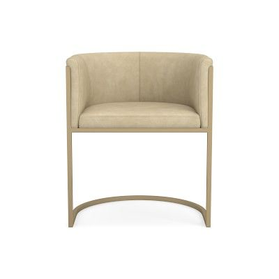 Remi Dining Armchair, Africa Leather, Beige, Antique Brass