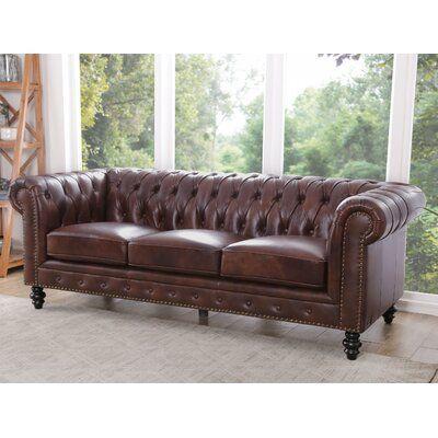 "Eufaula 87"" Genuine Leather Rolled Arm Chesterfield Sofa"