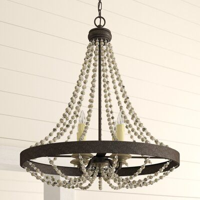 Aaden 4 - Light Unique / Statement Empire Chandelier with Beaded Accents