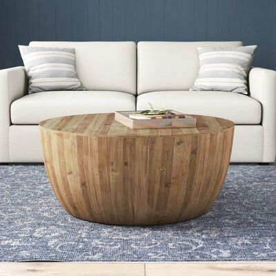 Hindsville Solid Wood Drum Coffee Table