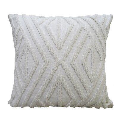 "Chicos Home White Outdoor Indoor Decorative Diamond Pillow 18""X18"""