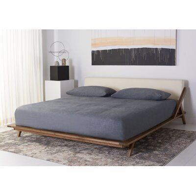 Devyn Solid Wood and Upholstered Low Profile Platform Bed