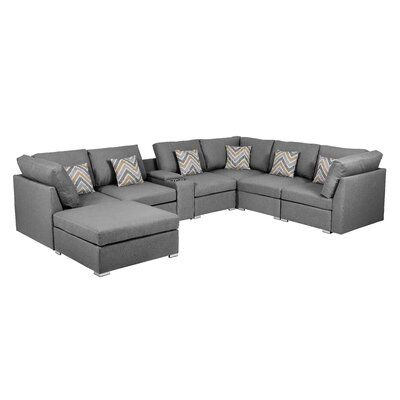 """Amira 131.5"""" Wide Reversible Modular Corner Sectional with Ottoman"""