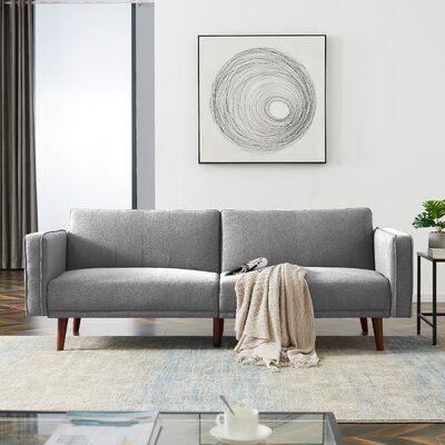 "Tyngsborough 84.25"" Wide Linen Square Arm Convertible Sofa"