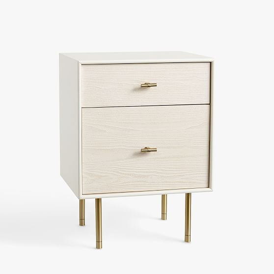 Modernist Bedside Nightstand, White and Wintered Wood