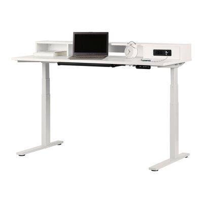 Majyta Adjustable Height Standing Desk With Built In Power Bar