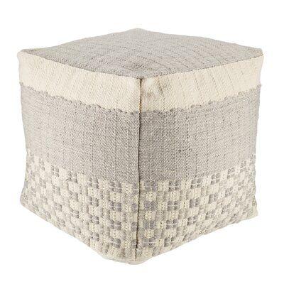 Sebastia Indoor/ Outdoor Geometric Gray/ Cream Cube Pouf
