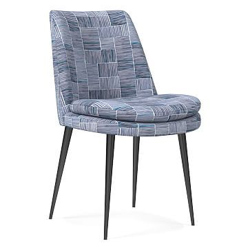 Finley Low Back Dining Chair, Watercolor Stripe, Midnight, Gunmetal