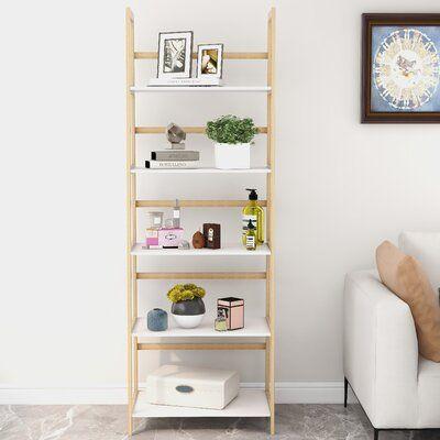 Ilyaas 70.8'' H x 24.4'' W Solid Wood Ladder Bookcase