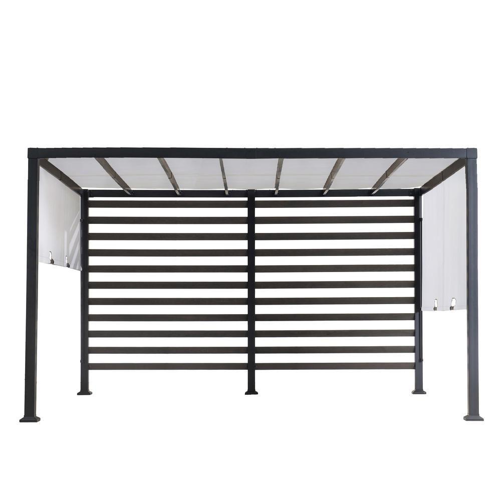 Sunjoy Sandy 12 ft. x 10 ft. Modern Steel Pergola with White Adjustable Shade, Blacks