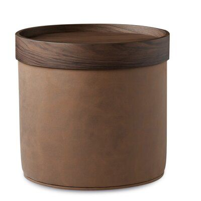 "19"" Genuine Leather Round Pouf"