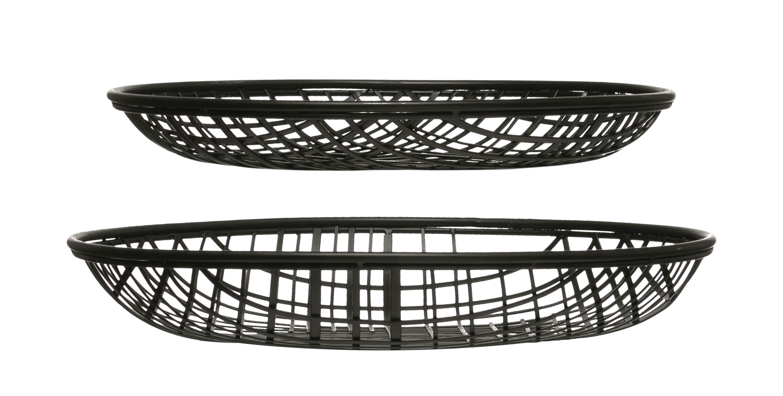 "14"" & 16"" Round Decorative Metal Wire Baskets (Set of 2 Sizes)"