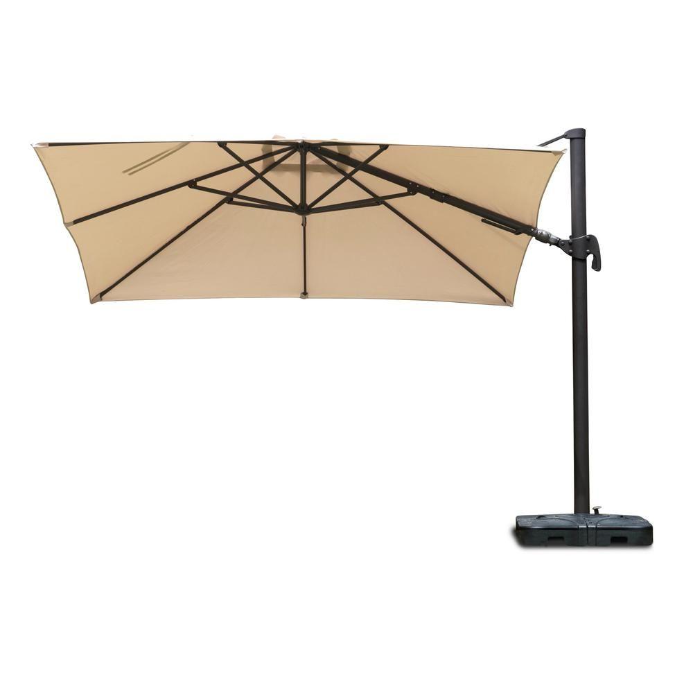 Atlantic Contemporary Lifestyle Free Pole Square 10 ft. x 10 ft. Aluminum Frame Patio Umbrella with Base