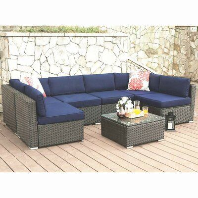 Connally Outdoor 7 Piece Rattan Sectional Seating Group with Cushions
