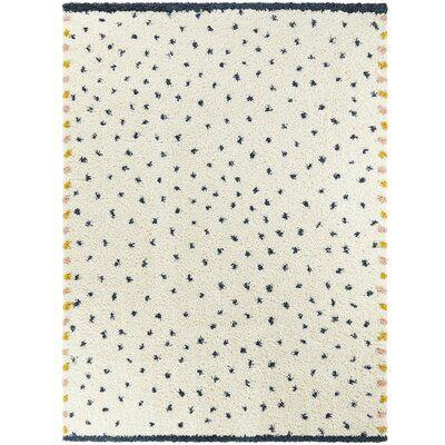 Shag Blue/Off-White Dalmation Dot Area Rug