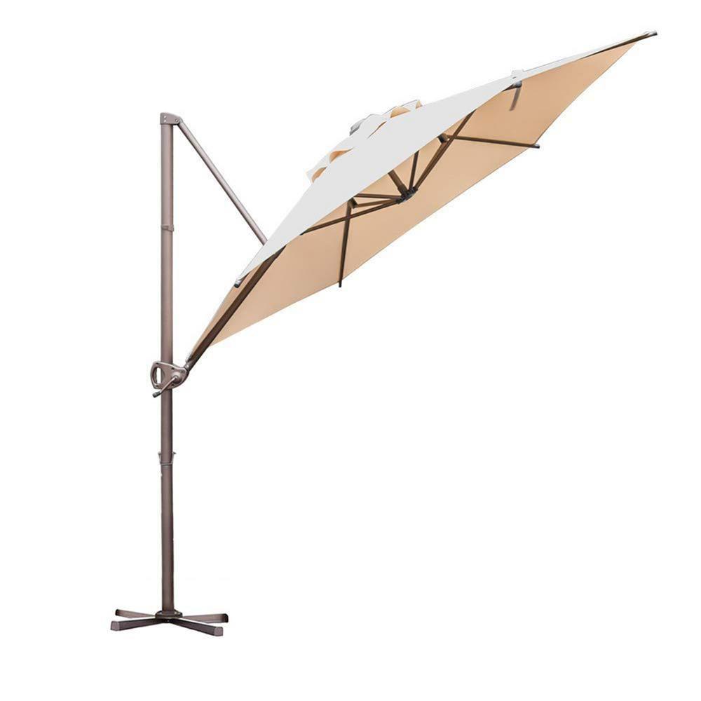 Abba Patio 9 ft. Offset Cantilever Adjustable Vertical Tilt Patio Umbrella in Beige