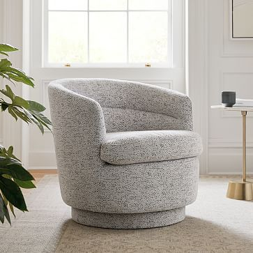 Viv Swivel Chair, Poly, Chunky Chenille, Stone White, Concealed Support-individual