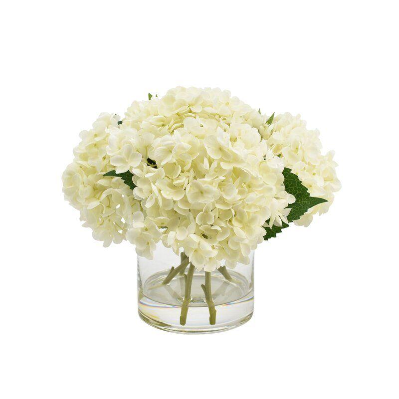 Hydrangea Floral Arrangement in Vase Flower 12'' H White