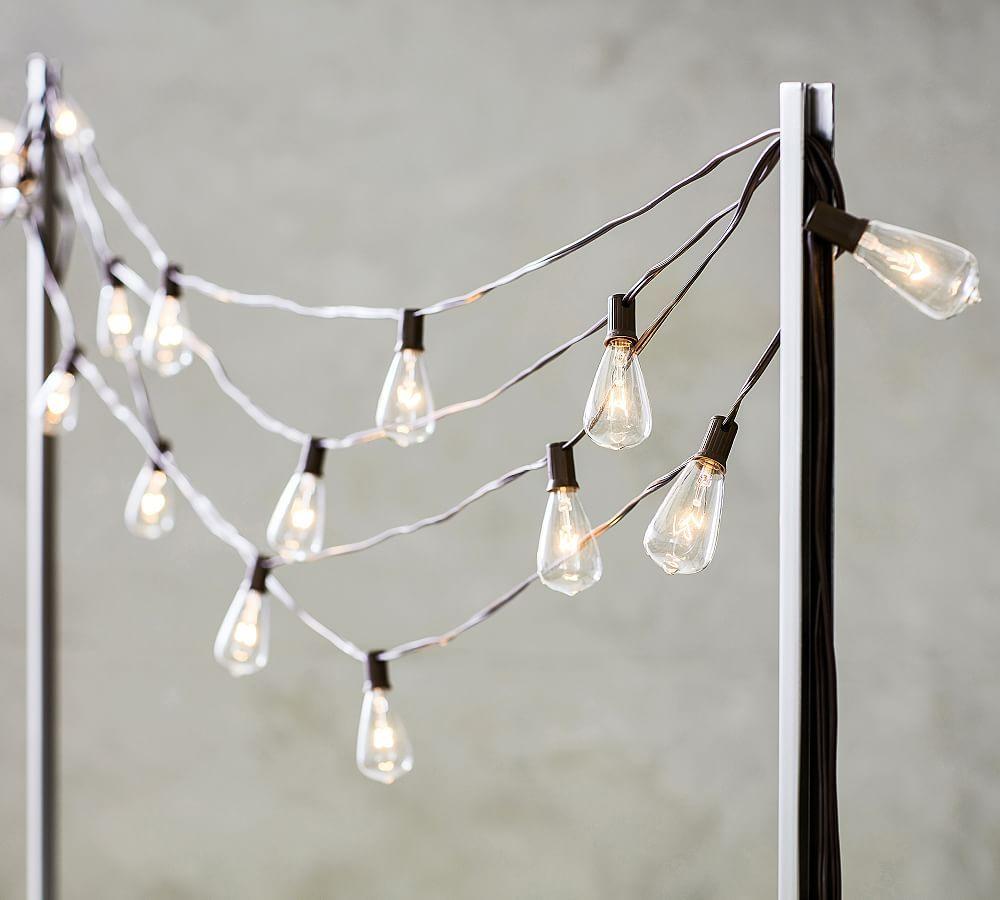 String Light Holders: Black-Tabletop: S/2 Poles