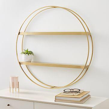 Deco Round Metal Shelf, Antique Brass