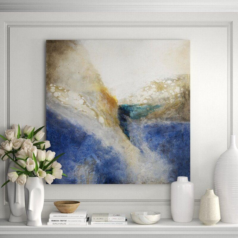 """JHR Art 'Stone Washed' Painting on Canvas in Blue Format: Gold Frame Canvas, Size: 44"""" H x 44"""" W x 2.25"""" D"""