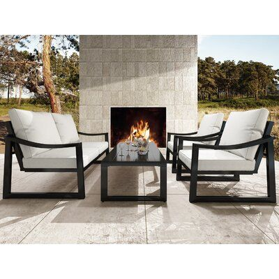 4 Pieces Patio Furniture Set Outdoors Sofas, Modern Metal Loveseat And Chair With Beige Cushions, Tea Table For Poolside, Backyard, Balcony, Garden, Black