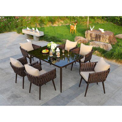 Malaki 7 Piece Dining Set with Cushions