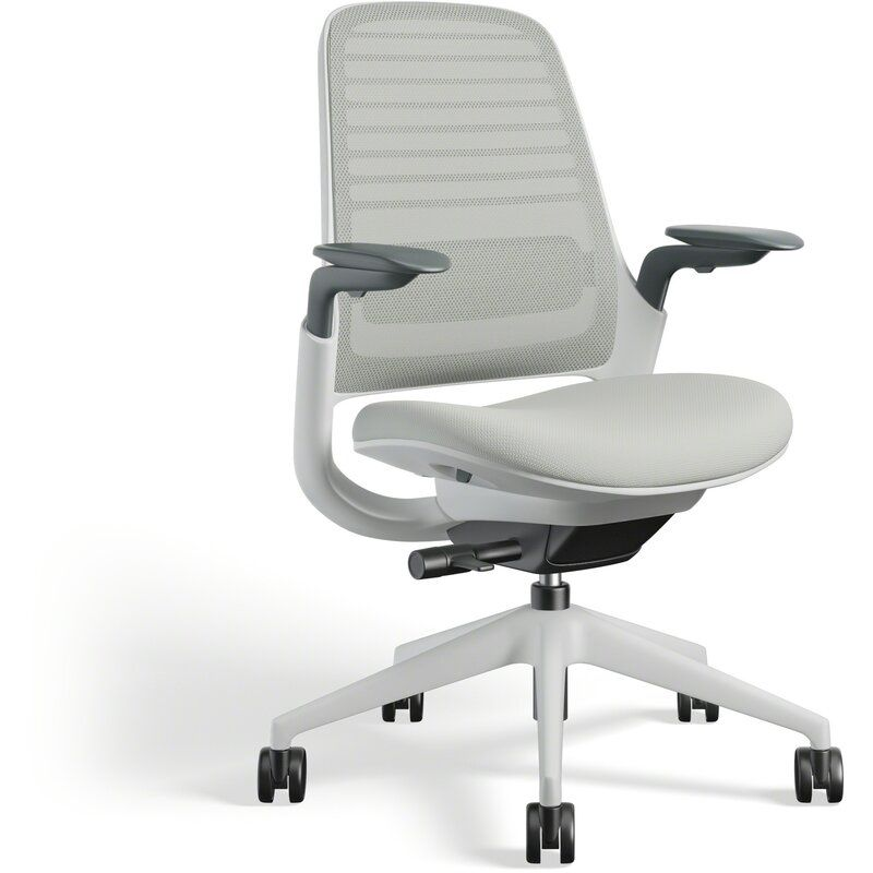 Steelcase Series 1 Ergonomic Mesh Task Chair Frame Color: Seagull, Upholstery Color: Nickel