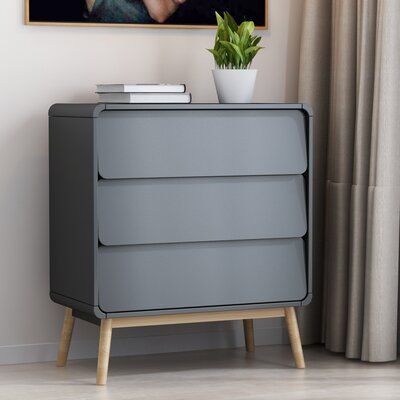 Hyeon 3 - Drawer Nightstand in Gray