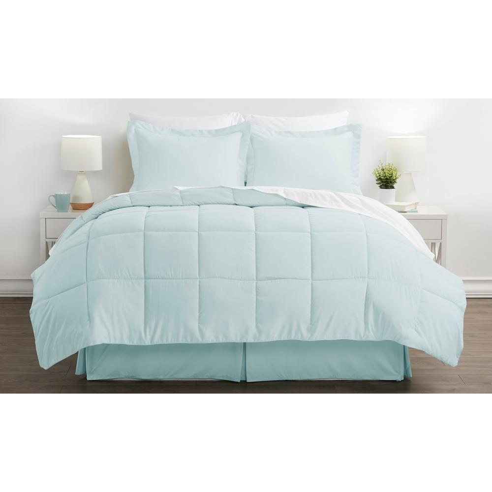 Bed In A Bag Performance Aqua (Blue) Queen 8-Piece Bedding Set