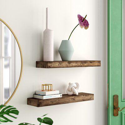 2 Piece Rubberwood Solid Wood Floating Shelf