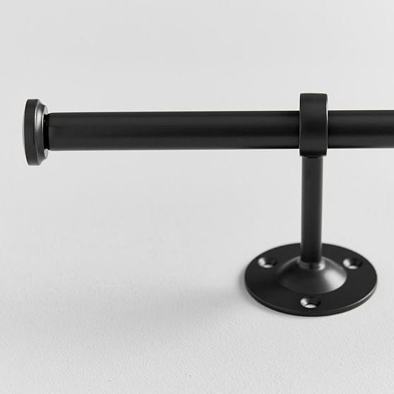 "Classic Steel Curtain Rod, .75, 28""-48"" Single, Dark Iron"