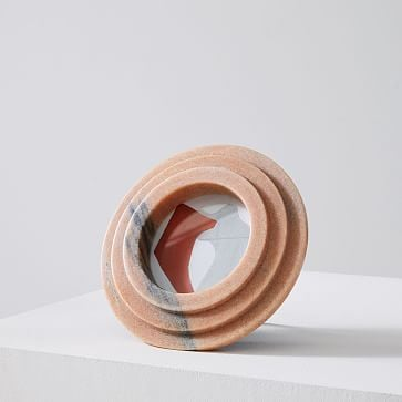 """Stacked Marble Frame, Circle, 4""""x4"""""""", Pink"""