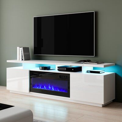 """Bukard TV Stand for TVs up to 78"""" Electric Fireplace Included"""
