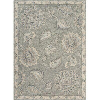 Ramona Floral Handmade Tufted Wool/Cotton Gray Area Rug